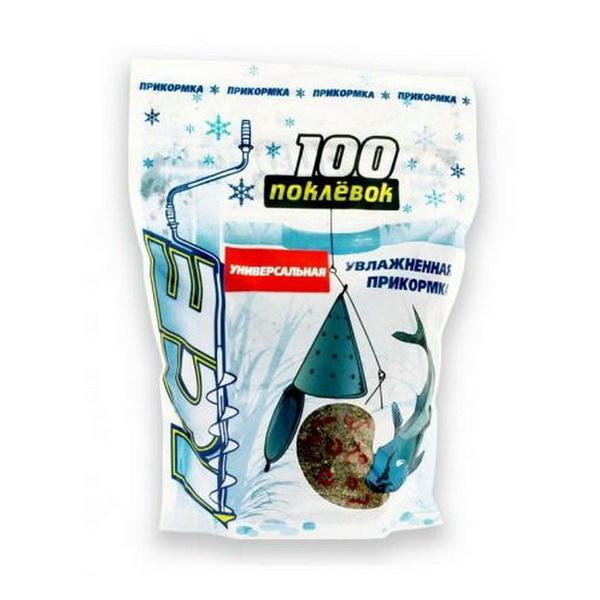 Прикормка 100 Поклевок Ice Универсальная 500 гр.Прикормки<br>Прикормка применяется для зимней рыбалки. Она предварительно увлажнена. Для того, чтобы воспользоваться ею, необходимо размять ее в руке и заполнить кормушку.<br>
