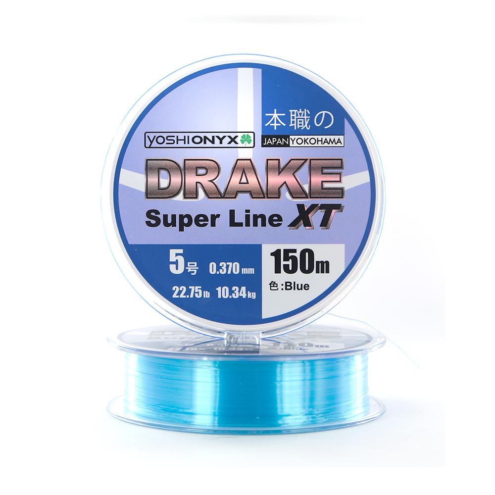Леска Yoshi Onyx Drake Superline XT 150M 0.234mm Blue (89476)Монофильные лески<br>Леска DRAKE Super Line XT голубого цвета, очень эластичная, практически не имеет памяти, строго соответствует заявленным тестовым нагрузкам и диаметру. Создана, специально, для ловли на различные искусственные приманки.<br>