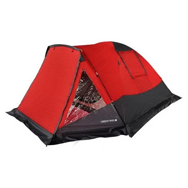 Палатка GreenWay 4 мест. Жетысу (380*240*133см) мат 190Т 3000мм вод.ст.Палатки<br>Палатка имеет четыре места. Каркас состоит из трех дуг. Изготовлена из водоотталкивающей ткани.<br>