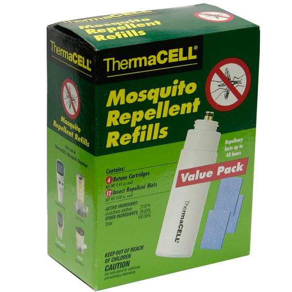 Набор ThermaCell запасной (4 газовых картриджа + 12 таблеток)Противомоскитные приборы<br>Запасной набор подходит ко всем приборам ThermaCELL. Каждый картридж рассчитан на 12 часов, а каждая пластинка - на 4 часа непрерывной работы. Вы можете запастись расходными материалами для отпугивателя комаров заранее. <br>.<br>