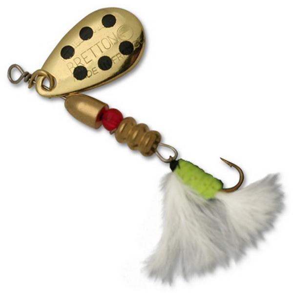 Блесна Fishycat Bretton Streamer - №2 / GBD (76136)Блесны<br>Привлекательная блесна со стримером. Обладает хорошей уловистостью и не оставит без внимания даже самую пассивную рыбу. Стример изготовлен из тонких перьев марабу.<br>