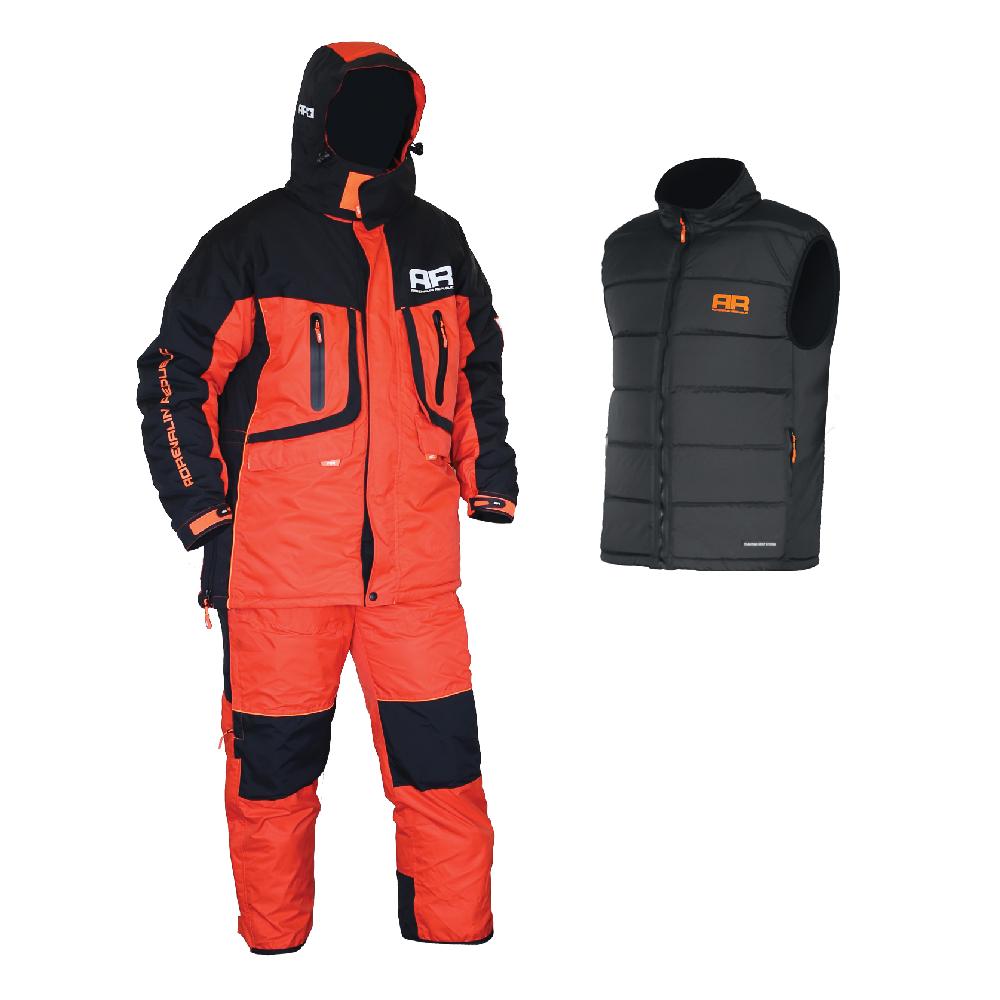 Костюм зимний для рыбалки Adrenalin Republic EVERGULF 3in1, S с плав. жилетом (89912)Костюмы/комбинзоны<br>Костюм разработан на базе отлично зарекомендовавшей себя модели ROVER, выполнен в яркой оранжево-черной гамме и предназначен для температур до -25 градусов.<br>