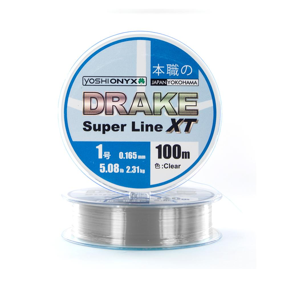 Леска Yoshi Onyx Drake Superline XT 100M 0.181mm Clear (89469)Монофильные лески<br>DRAKE Fluoro от  Yoshi Onyx это полноценная флюорокарбоновая леска, предназначена как для намотки на шпулю катушки, так и для монтажа разнообразных оснасток. Трогательно мягкий и удивительно скользкий этот флюр, с  невероятной лёгкостью проходя по кольцам...<br>