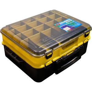 Ящик рыболовный Tsuribito TR8800 желтый с чернымЯщики<br>Ящик рыболовный Tsuribito двухсекционный (большой), для хранения и транспортировки приманок. Ящик имеет 20 съемных перегородок, 4 отделения для воблеров и отделение для катушки. Перегородки позволяют изменять размер каждого отделения. Размер  48,2 х 35,8 ...<br>