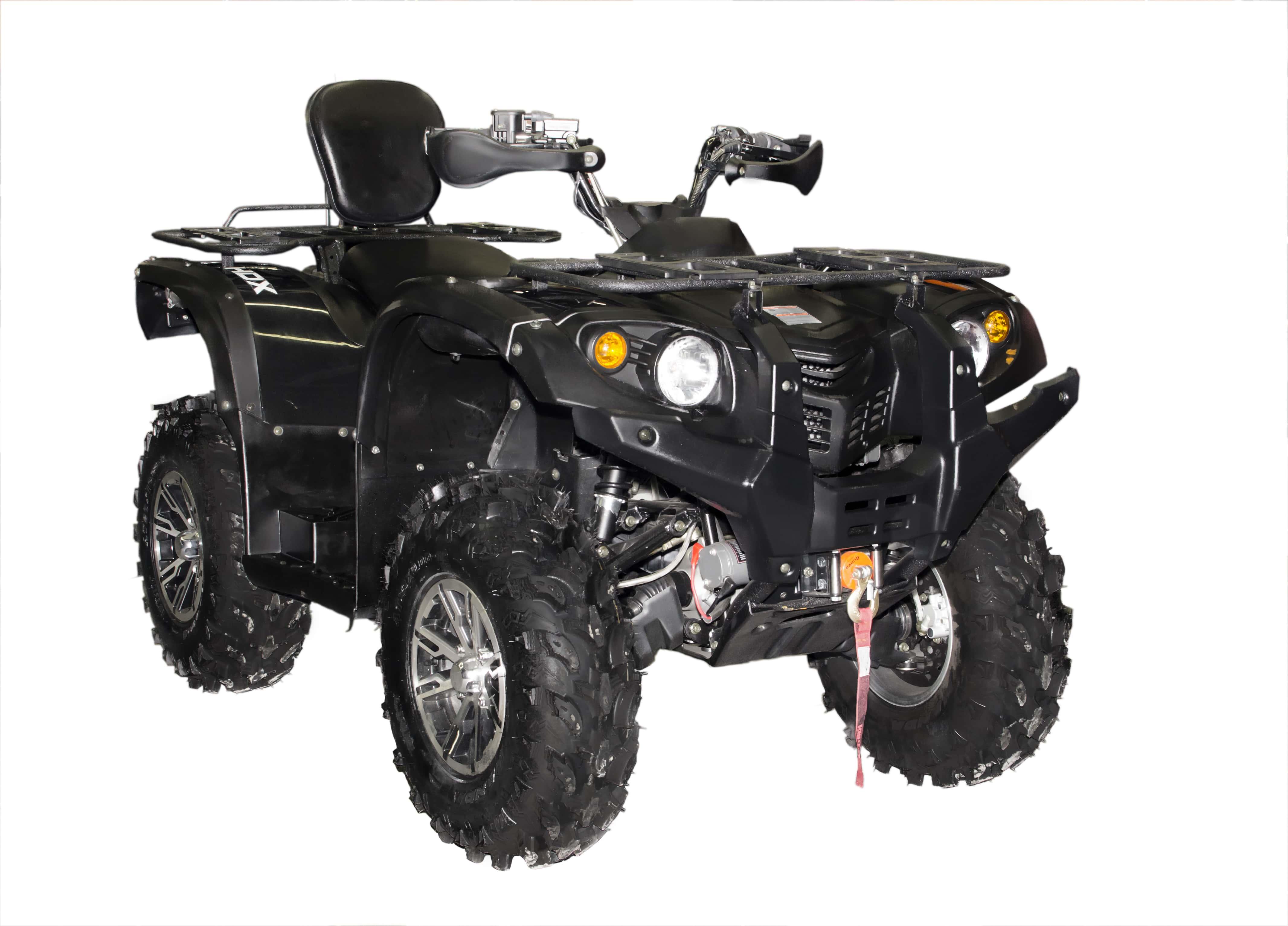 Мотовездеход HDX 470ATV, черныйКвадроциклы<br>Безопасный и простой в управлении квадроцикл HDX 470XT сразу привлекает к себе внимание. Отличная модель для энергичных прогулок по бездорожью и рыболовно-охотничьих поездок. На нем удобно пробираться в самые отдаленные места.<br>