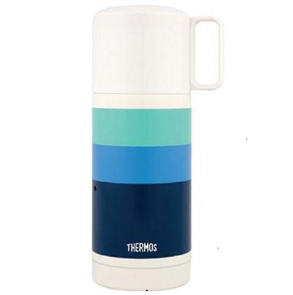 Термос Thermos с широким горлом FEJ-350 Blue 0.35 л (цвет синий)Термосы<br>Удачно сочетаются конструктивные особенности чашки-крышки и пробки кнопочного типа. Пробка откидывается одним нажатием руки благодаря встроенной пружине.<br>