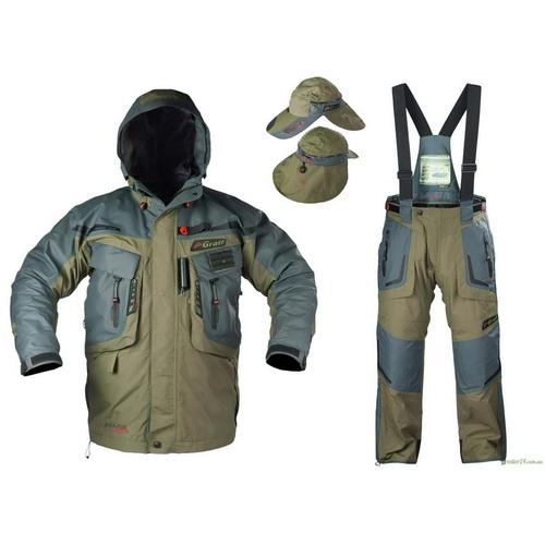 Костюм Graff рыболовный (короткая куртка+брюки) ткань BratexКостюмы/комбинзоны<br>Особенно прочный костюм для рыбной ловли при любой погоде с несколькими карманами.<br>