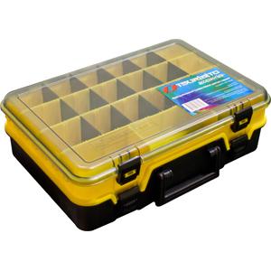 Ящик рыболовный Tsuribito TR2045 желтый с чернымЯщики<br>Ящик рыболовный Tsuribito двухсекционный, для хранения и транспортировки приманок. Ящик имеет 19 съемных перегородок и 5 фиксированных, перегородки позволяют изменять размер каждого отделения. Размер  27 х 39 х 12см.<br>