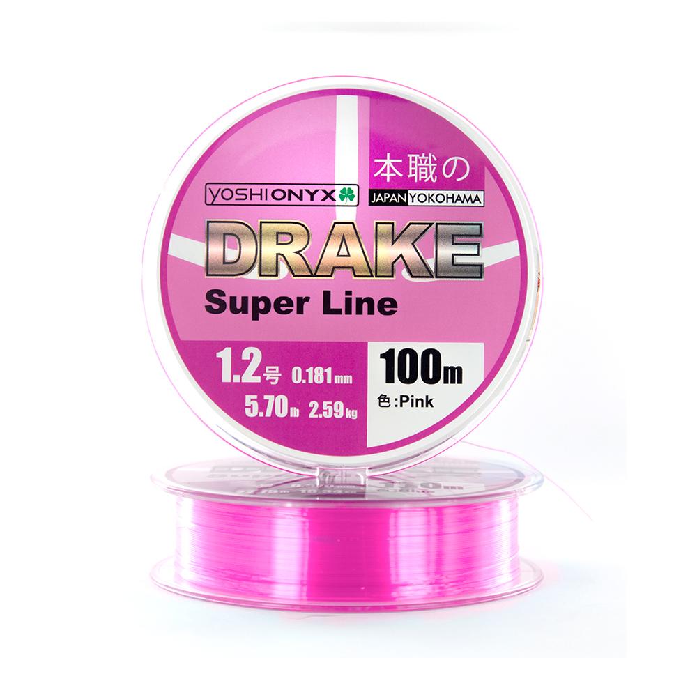 Леска Yoshi Onyx Drake Superline 100M 0.148mm Pink (89461)Монофильные лески<br>DRAKE Super Line розового цвета в размотке 100м. Эта, не имеющая аналогов, нейлоновая леска невероятно устойчива к истиранию, имеет минимальное растяжение, повышенную чувствительность и прочность. Идеально подойдёт для ловли осторожной рыбы, в сложных усл...<br>