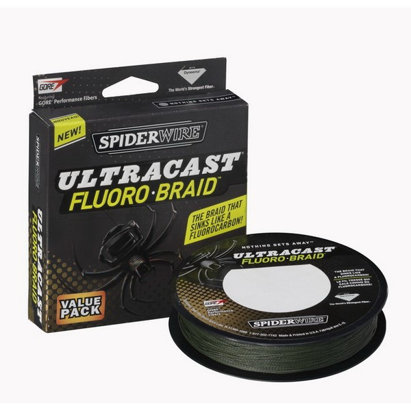 Леска плетеная Spiderwire Ultracast Fluorobraid Green, 270м, #0.10, 6.119кг, 1236936 (73833)Плетеные шнуры<br>Незаменимая модель для рыбалки в сложных уловистых местах.<br>