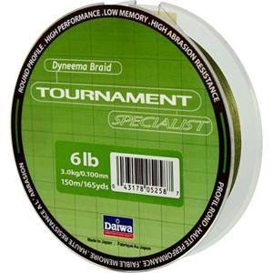 Леска Daiwa Tournament SpecialistПлетеные шнуры<br>Зеленая плетеная леска Tournament Specialist отличается высокой износостойкостью и позволяет увидеть поклевку по движению шнура.<br>