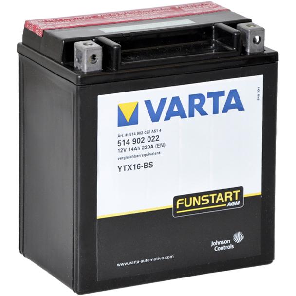 Аккумулятор Varta Funstart (514 902 022) AGM квадро. YTX16-BSАккумуляторы<br>Максимальный уровень при запуске.<br>