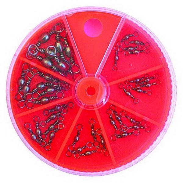 Вертлюжок Lucky John набор 42шт.Вертлюжки и застежки<br>Рыболовные мелочи входящие в набор этой фирмы станут незаменимым аксессуаром вашей рыбалки. С их помощью можно с легкостью предотвратить запутывание лески, привязывать подвижный отводной поводок, быстро производить замену воблеров и приманок на удилище<br>