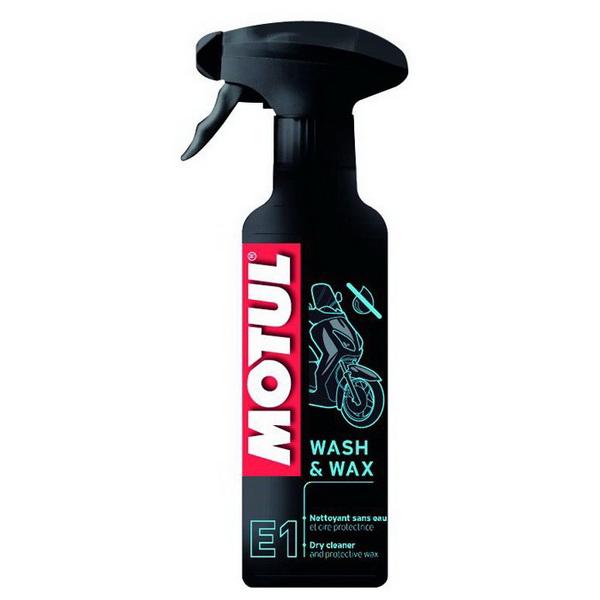 Очиститель Motul Wash &amp; Wax (0.4л)Масла и ГСМ<br>Сухой очиститель для мотоциклов. Эффективно удаляет загрязнения и предаёт блеск пластиковым частям. Не требует использования воды.<br>