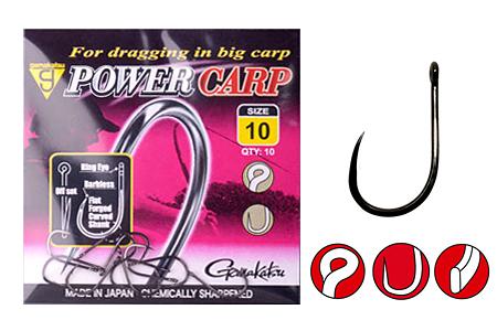 Крючок Gamakatsu Power Carp Ring Eye Barbless NSBОдинарные крючки<br>Крючки серии Power Carp разрабатывались специально для ловли нетрофейных рыб семейства карповых на волосяные оснастки с такими насадками, как небольшие бойлы, пеллетс и кукуруза.<br>