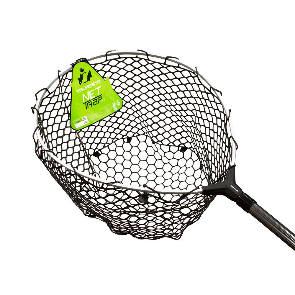 Подсачек Tsuribito Net Trap Tele c черной силиконовой сеткой, телескопический, длина 140-210см, диаметр 46смПодсачеки<br>Универсальный подсак с силиконовой сеткой. Применяется для вытаскивания рыбы без повреждения снастей и самого улова.<br>