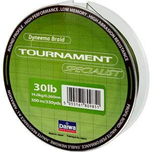 Леска Daiwa Tournament Specialist 300-30 (22984)Плетеные шнуры<br>Зеленая плетеная леска Tournament Specialist отличается высокой износостойкостью и позволяет увидеть поклевку по движению шнура.<br>