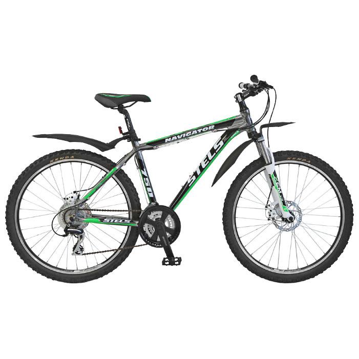 Велосипед Stels Navigator-750 Disc 26Велосипеды Stels<br>Дисковые тормоза. Надежный хардтейл, на котором можно с комфортом совершать длительные прогулки по пересеченной местности. Подойдет широкому кругу любителей велосипедного спорта.<br>