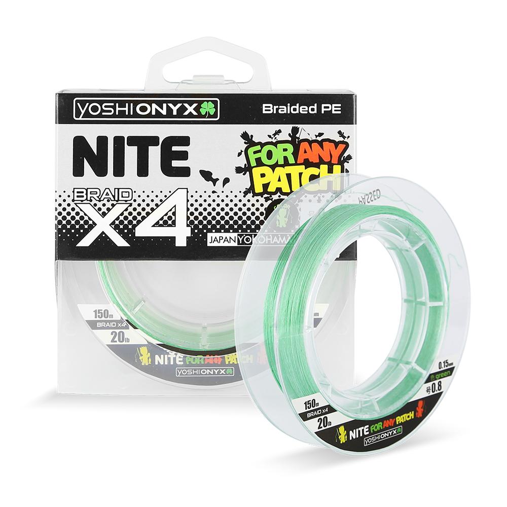 Леска плетеная Yoshi Onyx NITE 4 Green, #1.0 (95436)Плетеные шнуры<br>NITE Braid X4 свежего зелёного цвета это многоцелевой прочный и чувствительный шнур, предназначенный для ловли на различные искусственные приманки.<br>