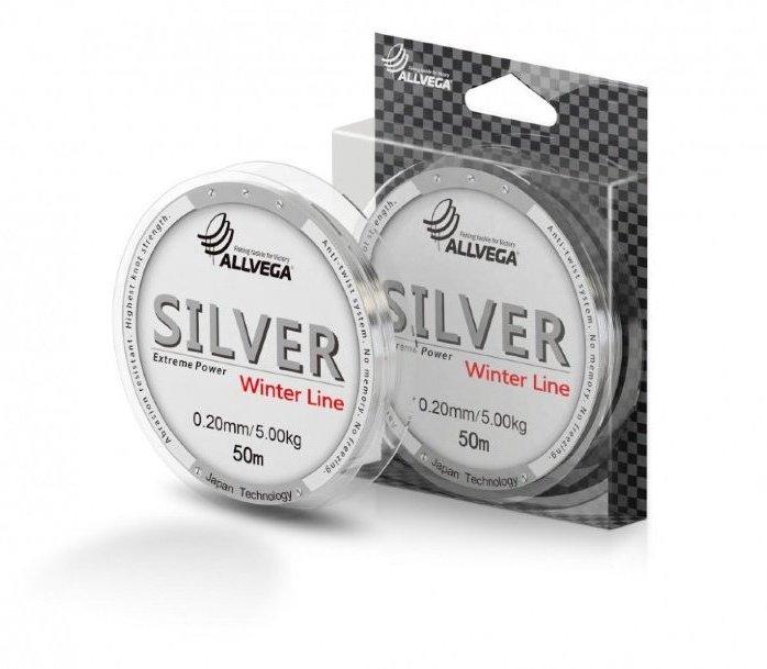 Леска Allvega Silver 50 м 0,08 мм (96588)Леска зимняя<br>Леска ALLVEGA SILVER 50м монофильная маловосприимчива к солнечным лучам. Обладает высокой прочностью и  превосходно выдерживает напряжение на узлах связанных с ловлей крупных рыб. Хорошо подойдет для ловли на мормышку благодаря отсутствию механической пам...<br>