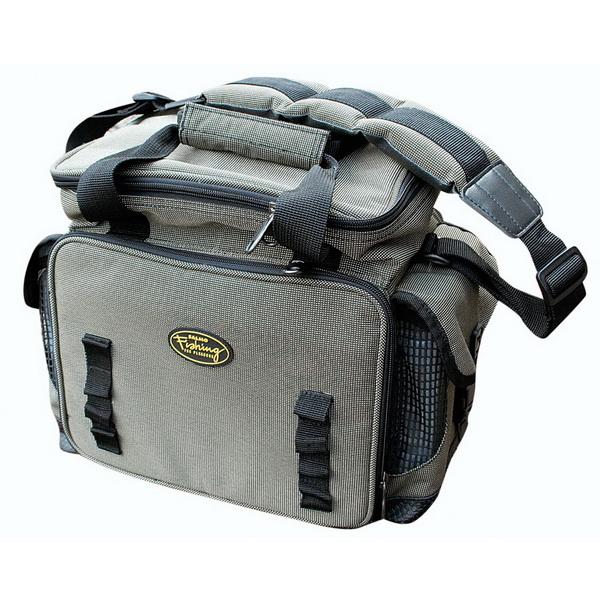 Сумка Salmo рыболов. 10Сумки и рюкзаки<br>Удобная сумка для переноски принадлежностей рыболова. Внутри сумки имеются 6 пластиковых коробочек - отделений для хранения рыболовных мелочей. Снаружи есть 3 кармана на молнии, а также внутренние карманы из сетки на боковых стенках. Для удобной транспорт...<br>