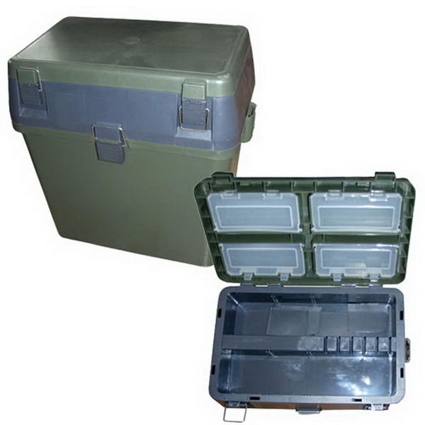 Ящик рыболовный Salmo зим. 2-х ярус. пласт.Ящики, каны и аэраторы<br>Пластиковый ящик для зимней рыбалки. Отлично подходит для подледной ловли. Его можно использовать как стул и одновременно хранить в нем снасти, а также прочее рыболовное снаряжение. Есть отделение для хранения улова. Ящик отличается морозостойкостью и хор...<br>