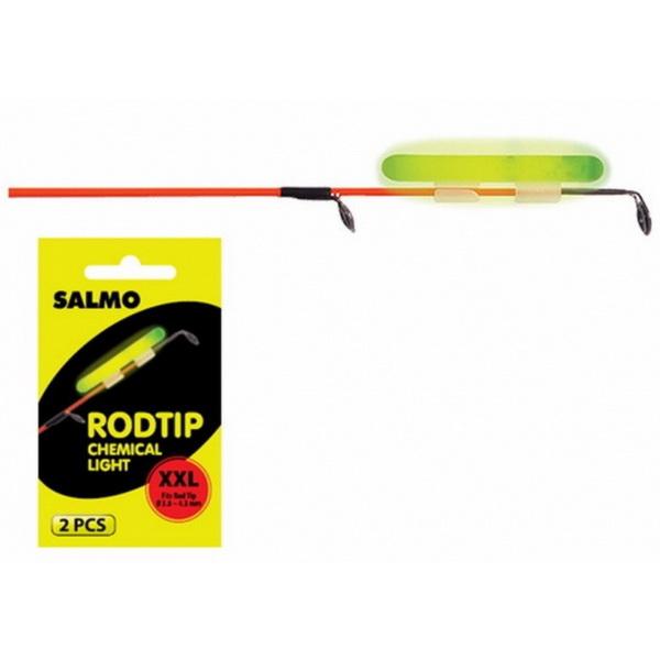 Светлячки Salmo Rodtip 3,3-3,7мм 2штСветлячки<br>Светлячки с крепежами для удилищ. Используются для лучшей видимости поплавка на рыбалке в ночное время суток. С ними рыбалка станет комфортнее. Светлячок состоит из пластиковой капсулы, наполненной жидкостью. Внутри этой капсулы установлена еще одна капсу...<br>
