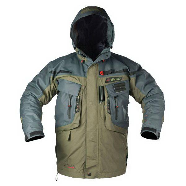 Костюм Graff рыболовный (длинная куртка+брюки) ткань Bratex 628-В-1/728-В-XL/176-182Костюмы/комбинезоны<br>Рыболовный костюм Graff -  отличная защита от непогоды. Благодаря ткани BRATEX четвертого поколения костюм прекрасно отводит воду.<br>