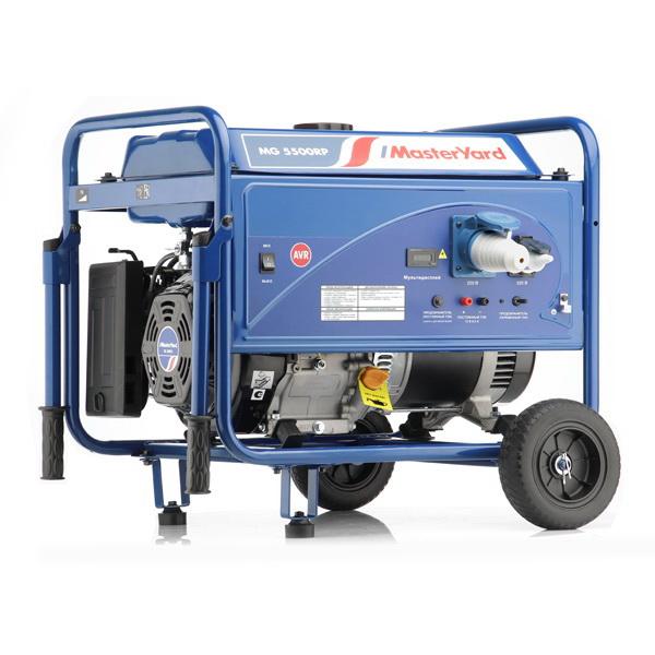 Генератор MasterYard MG 5500RPБензиновые генераторы<br>Генератор MG 5500RP незаменим в качестве переносного источника питания в любых ситуациях, данная модель снабжена большим топливным баком, который обеспечит длительный интервал работы без дозаправки топливом.<br>