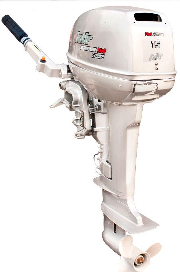 Лодочный мотор 2-х тактный JET! T15 BMS SilverПодвесные моторы<br>Лодочный мотор JET! T15 BMS Silver имеет все преимущества 2-х-тактных двигателей: электронная микропроцессорная система зажигания CD, облегченный старт, выхлоп через гребной винт, антикоррозийный корпус водяного насоса, оцинкованное покрытие внутренних ка...<br>