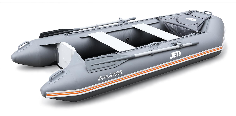 Надувная лодка Jet! Palmer 290, с пайолом, цвет темно-серыйЛодки ПВХ под мотор<br>Классическая моторная лодка со стационарным транцем под мотор и пайолом из морской фанеры с алюминиевым крепежом. Такая конструкция пола лодки придает необходимую жесткость и маневренность при движении.<br>