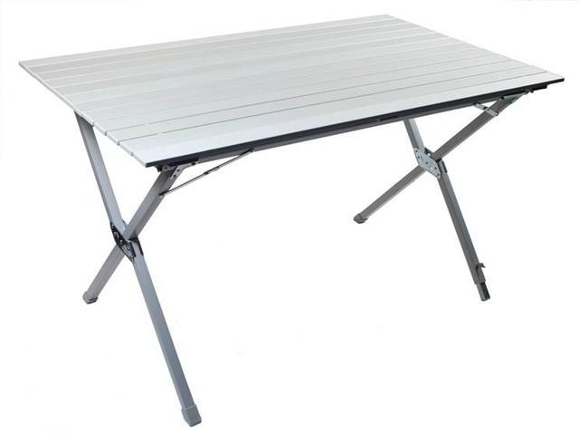Складной стол TREK PLANET White TA-570Столы складные<br>Складной стол из наборного матового алюминия. Столешница скручивается в рулон. В собранном состоянии очень компактный. Убирается в чехол из прочного материала с лямкой для переноски. Нагрузка 30 кг.<br>
