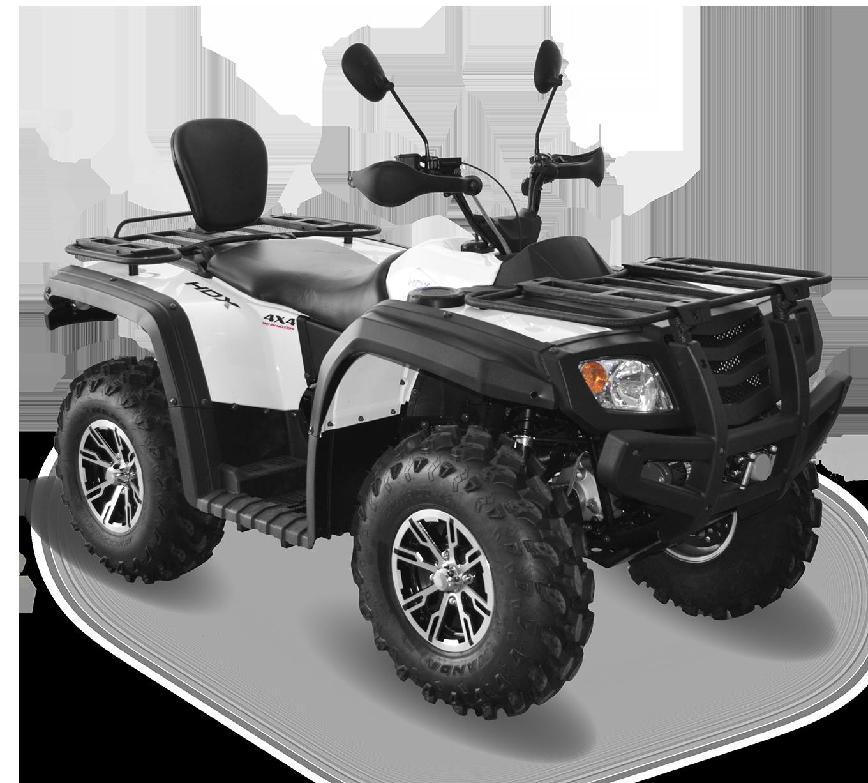 Мотовездеход HDX 650ATV, белыйКвадроциклы<br>Квадроцикл HDX 650XT отличный вариант для опытных квадроциклистов и людей, любящих активный отдых. Обладает всеми необходимыми рабочими характеристиками. Благодаря хорошей проходимости HDX 650XT вы легко проберетесь в гущу леса, преодолев любые преграды.<br>