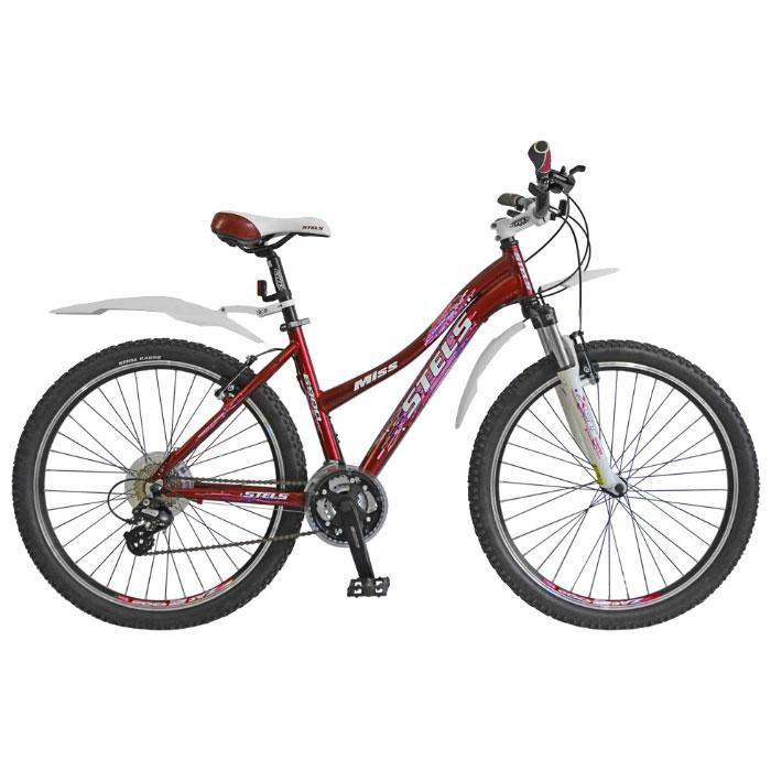 Велосипед Stels Miss-6900 26Велосипеды Stels<br>женский велосипед для кросс-кантри<br>рама: алюминиевый сплав<br>колеса 26 дюймов<br>ободные тормоза<br>амортизационная вилка<br>21 скорость<br>