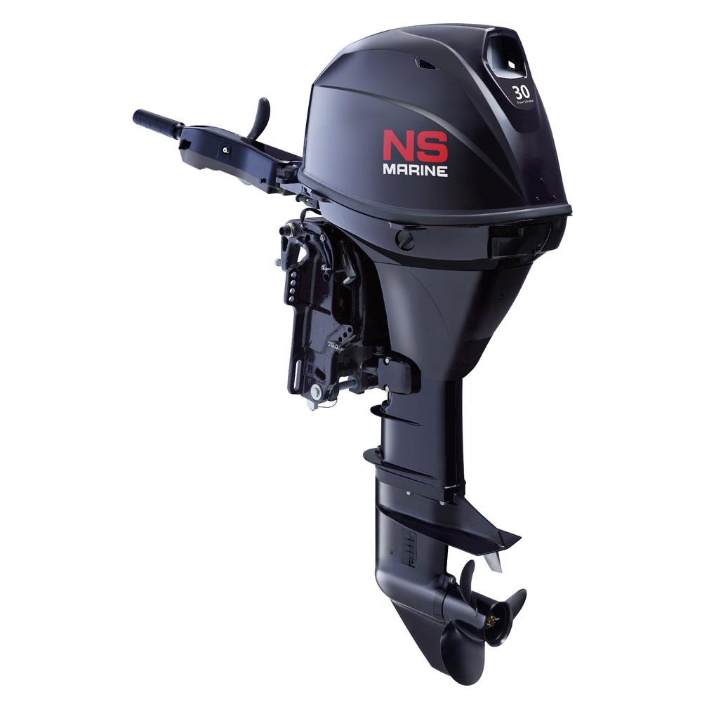 Лодочный мотор 4-х тактный Nissan Marine NSF 30 C ET1Подвесные моторы<br>С 2006 года четырехтактная трехцилиндровая модель мощностью 30 л.с. получила электронный впрыск топлива, что позволило добиться лучших экономических показателей. Данная модель не требует обязательного подключения к аккумуляторной батарее и может заводитьс...<br>