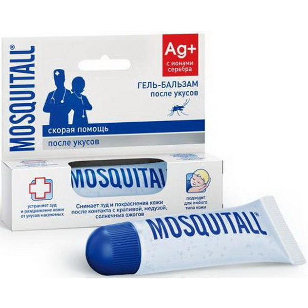 Гель Mosquitall бальзам Скорая Помощь после укусов, 10 мл.Репелленты, аэрозоли<br>Гель-бальзам после укусов окажет первую помощь при укусах насекомых, снимает боль и зуд, успокаивает кожу, предотвратит расчёсывание места укуса.<br>