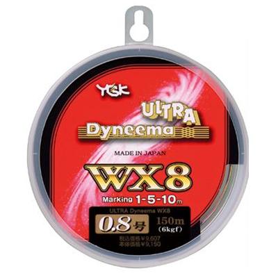 Леска плетеная YGK Ultra Deneema WX8 150м #0.8 (97901)Плетеные шнуры<br>Плетёные шнуры YGK WX-8 отличает от многих других брендов точное соответствие заявленных характеристик по диаметру и по прочности фактическим. Это честный бренд. Благодаря применению технологии 8-волоконного плетения шнуры YGK WX-8 Ultra Dyneema очень...<br>