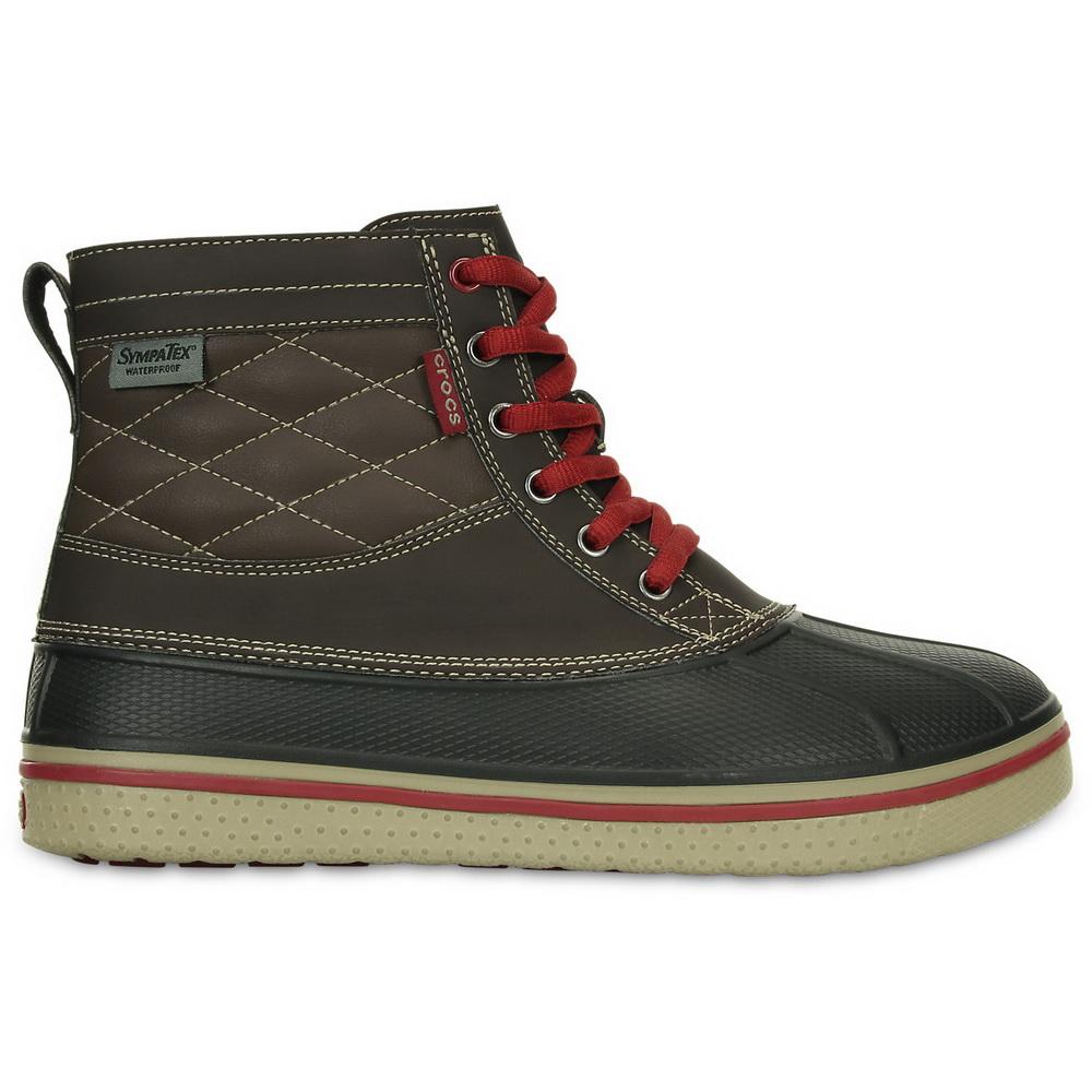 Ботинки Crocs муж. ОллКаст Вотерпруф Дак Бут Эспрессо/Клэй р. 43-44 / 10 (82872)Ботинки<br>Ботинки Crocs муж. Men's AllCast Duck Boot -  стильные, теплые и легкие ботинки. Выполнены из специального водоотталкивающего материала Крослайт, что на 100 процентов защитит Вашу стопу от влаги. В ботинках Вы не замерзнете при температуре -25.<br>