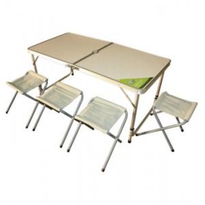 Стол GreenWay раскладной + 4 табурета 120x60x70/54 смСтолы складные<br>Складной стол и 4 табурета с алюминиевым каркасом. В сложенном состоянии набор представляет собой компактный чемоданчик с ручкой.<br>