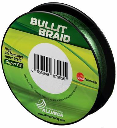 Леска плетеная Allvega Bullit Braid 92м (темно-зеленая)Плетеные шнуры<br>Леска ALLVEGA Bullit Braid разработана с учетом новейших технологий. За счет микроволокон полиэтилена (Super PE) модель имеет плотное плетение, гладкую поверхность, одинаковое сечение по всей длине, не впитывает воду.<br>