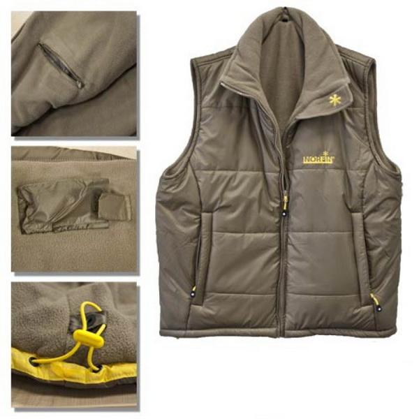 Жилет Norfin Vest Green 03 р.L 350003-L (57157)Для активного отдыха<br>Теплый жилет с несколькими карманами на застежках-молниях, обрамленными светоотражающими лентами.<br>