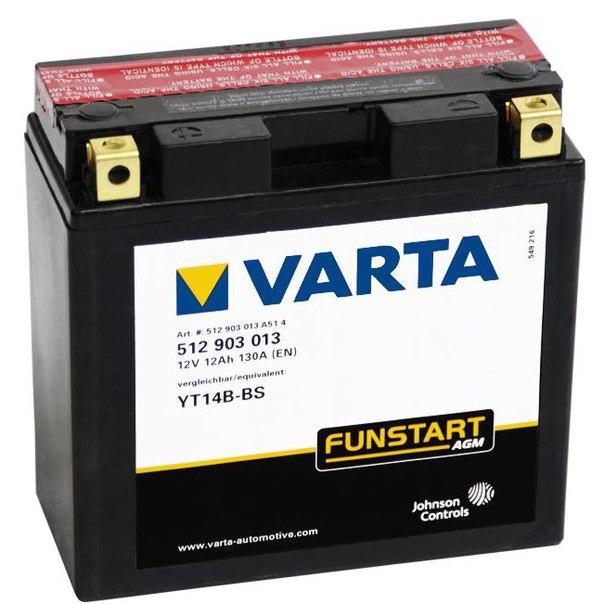 Аккумулятор Varta Funstart (512 903 013) AGM квадро. YT14B-BSАккумуляторы<br>Максимальный уровень при запуске.<br>