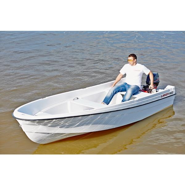 Лодка Laker V410Стеклоплаcтиковые лодки<br>Лодка имеет классический V образный киль, который позволяет сохранять курс движения лодки как при гребле, так и при хождении под подвесным лодочным мотором.<br>