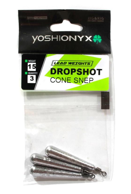 Груз Yoshi Onyx Dropshot Cone Spin конус для отвод, дропш. с др. заст., 6.0гр., 3шт. (92807)Джигголовки, Чебурашки<br>Груз Конус отлично подойдет для рыбной ловли методом дропшот или с помощью отводного поводка в сильно захламленных или закоряженных водоемах. Изготавливается из свинца и имеет вытянутую форму. В верхней точке есть жесткозакрепленный вертлюг, к которому ...<br>