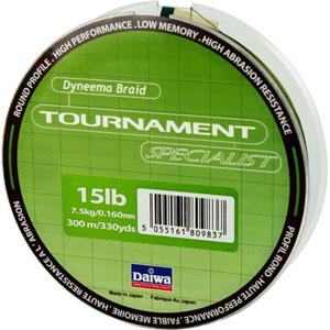 Леска Daiwa Tournament Specialist 300-15 (22982)Плетеные шнуры<br>Зеленая плетеная леска Tournament Specialist отличается высокой износостойкостью и позволяет увидеть поклевку по движению шнура.<br>