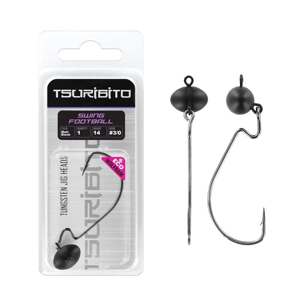 Джигголовка вольфрамовая Tsuribito Tungsten Jig Heads Swing Football, цвет черный матовыйДжигголовки, Чебурашки<br><br>