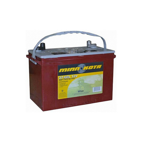 Аккумулятор Minn Kota (гелевый, глуб. разрядки, 91 а/ч) МК-27-GELАккумуляторы и зарядные устройства<br>Глубокоразрядный гелевый аккумулятор, предназначенный для питания троллинговых электрических моторов Minn Kota. Продолжительность работы аккумулятора в обычных условиях составляет 18-20 часов<br>
