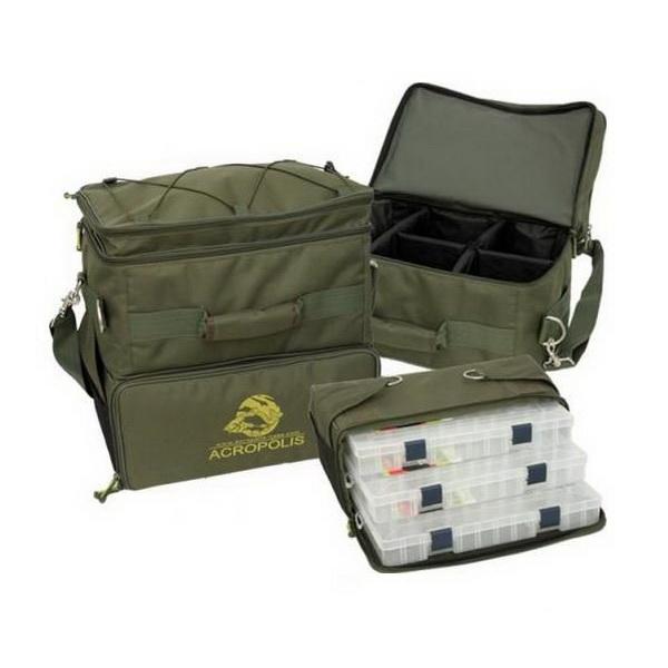 Сумка Acropolis  PC-1у рыбацкая трехсекционная с пластиковыми коробамиСумки и рюкзаки<br>Трех секционная рыбацкая сумка, предназначенная для хранения и транспортировки рыболовных принадлежностей. Сумка имеет одну ручку и наплечный ремень.<br>