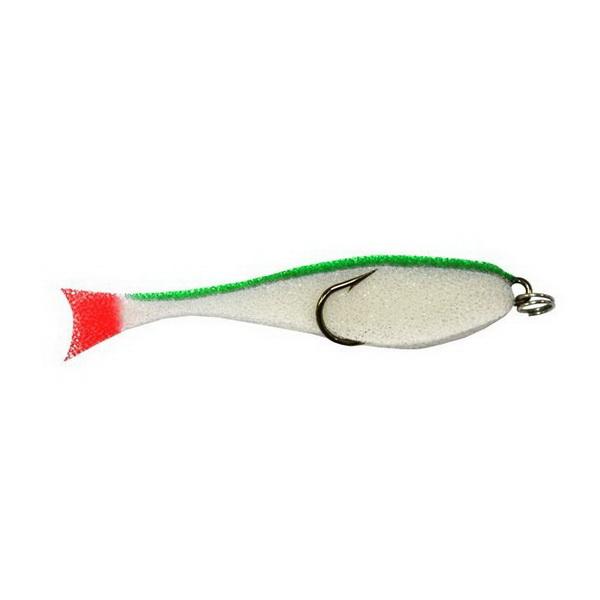 Купить Приманка Контакт поролон. рыбка (двойник),10см бело-зел (79404) в России