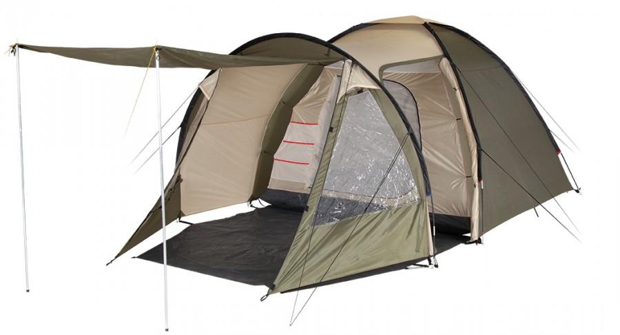 Палатка TREK PLANET Vegas 4Палатки<br>Четырехместная двухслойная современная кемпинговая палатка TREK PLANET Vegas 4 с вместительным, светлым, с двумя обзорными окнами и двумя входами в тамбур.<br>